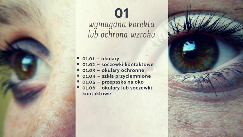 Kody 01 oznaczają, że wymagana jest korekta lub ochrona wzroku. Z kodem 01.01 nie możemy wsiadać za kierownicę bez okularów.