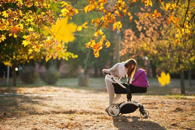 Dodatkowy zasiłek opiekuńczy. Komu przysługuje? Co zrobić, żeby dostać świadczenie? Na zdjęciu: matka z wózkiem w parku jesienią