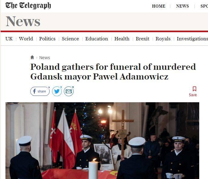 Światowe media informują o pogrzebie prezydenta Pawła Adamowicza