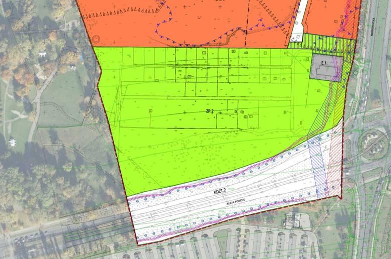 """Wersja planu """"Czyżyny-AWF"""", m.in. po poprawkach radnych Drewnickiego i Sęka, gdzie obszar zieleni był już znacznie większy"""