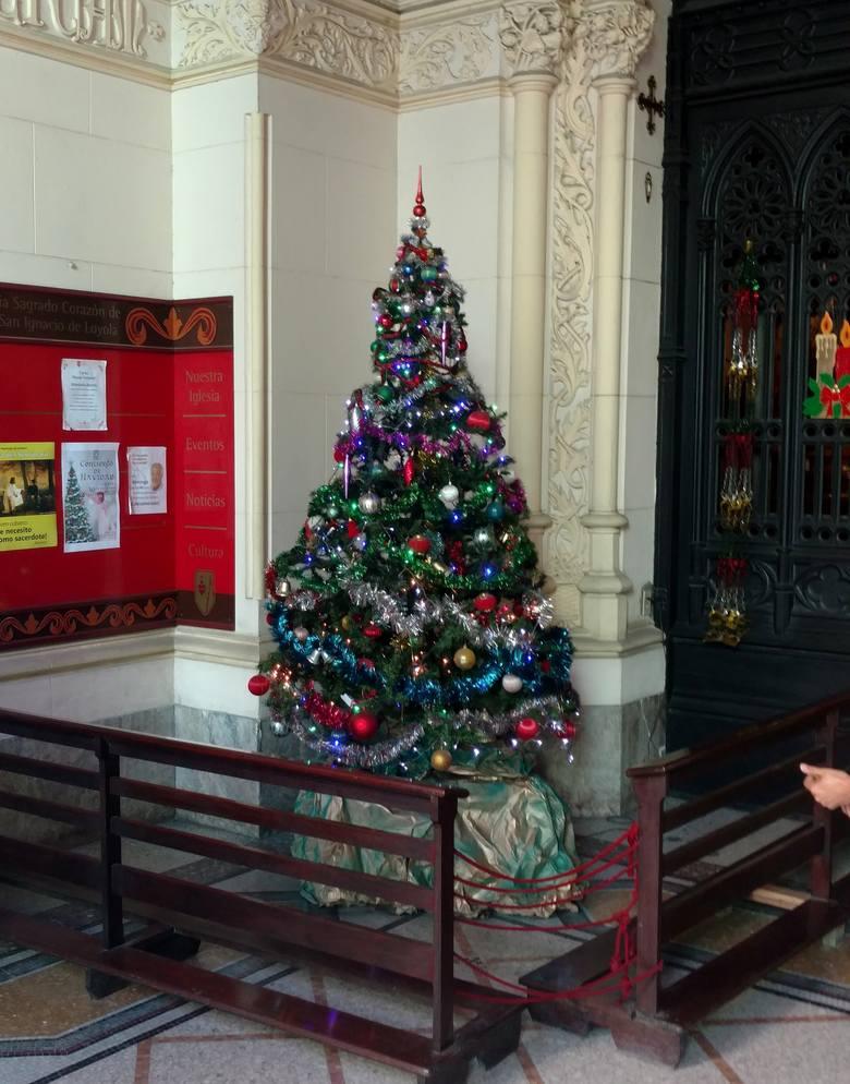 Choinka przy wejściiu do Iglesia Del Sagrado Corazon de Jesus w Hawanie Centro