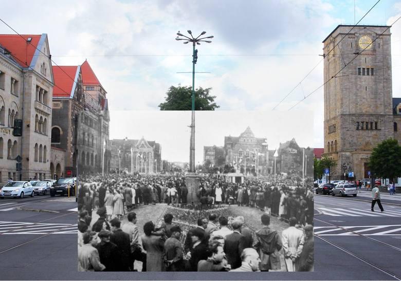28 czerwca 1956 strajkujący z powodu fatalnej sytuacji ekonomicznej robotnicy zakładów Cegielskiego (wówczas im. Józefa Stalina) manifestacyjnie przeszli