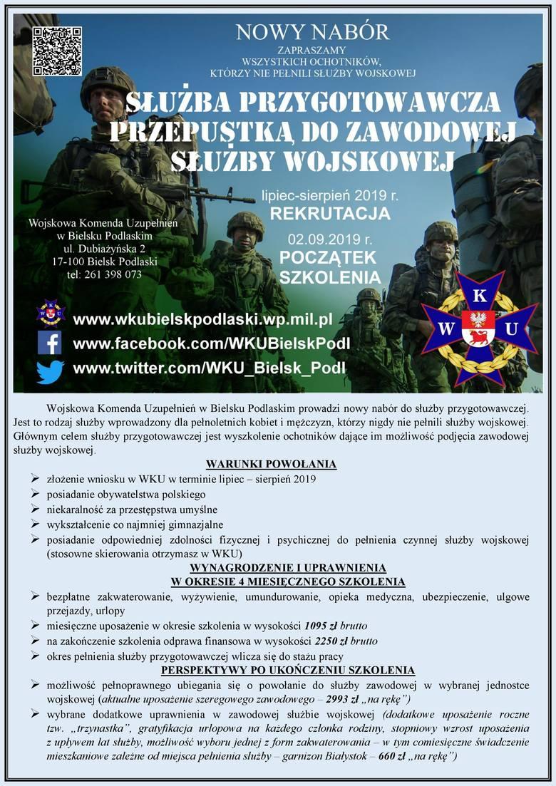 Wojskowa Komenda Uzupełnień w Bielsku Podlaskim prowadzi nabór do służby. Zobacz, ile można zarobić [19.07.2019]