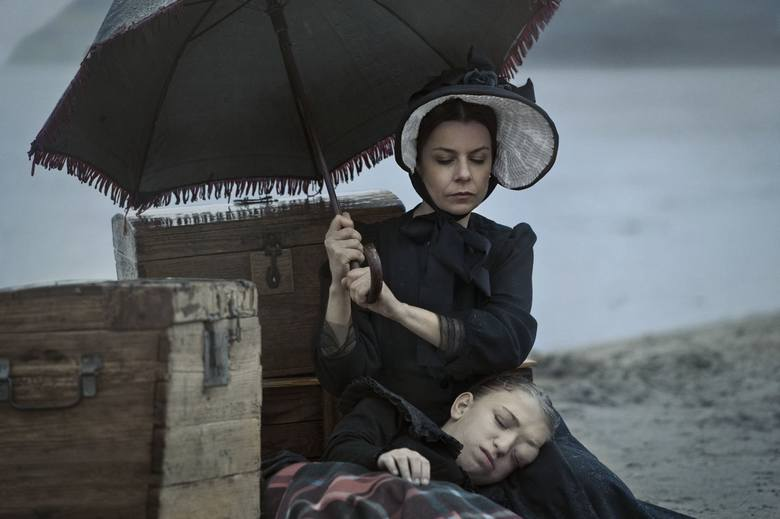 """Kadr"" z filmu ""Fortepian"". Tu Agata Kulesza jako Holly Hunter"