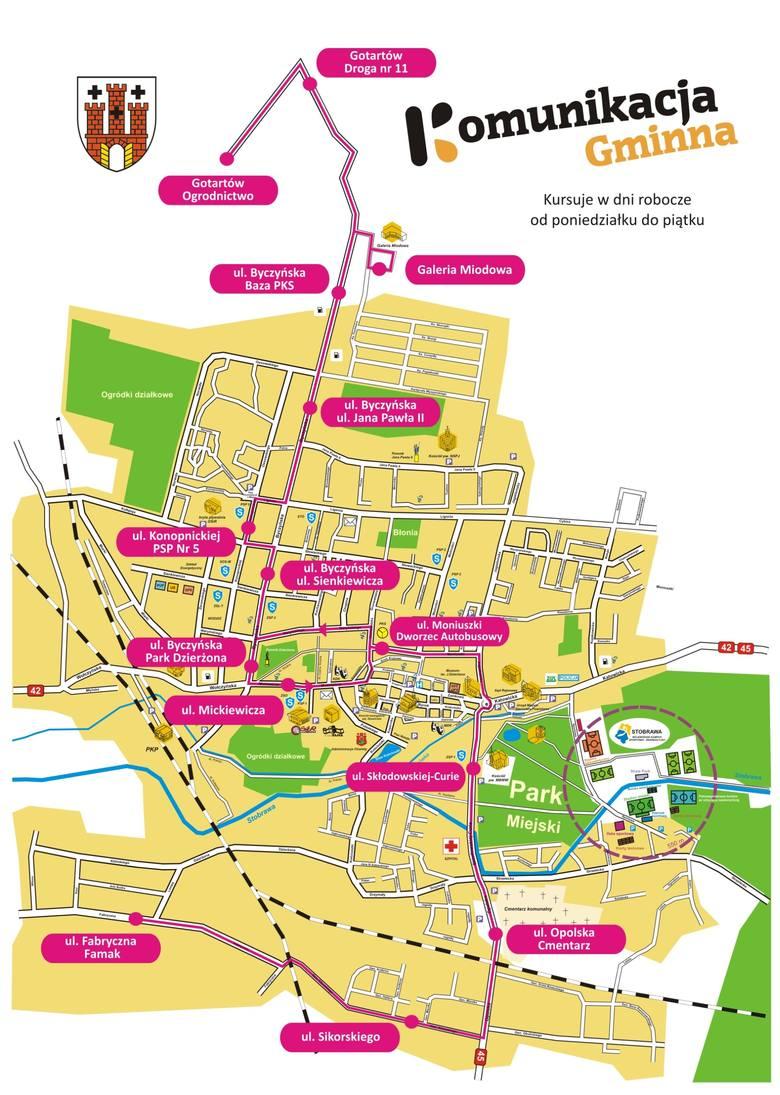 Trasa autobusu miejskiego w Kluczborku.