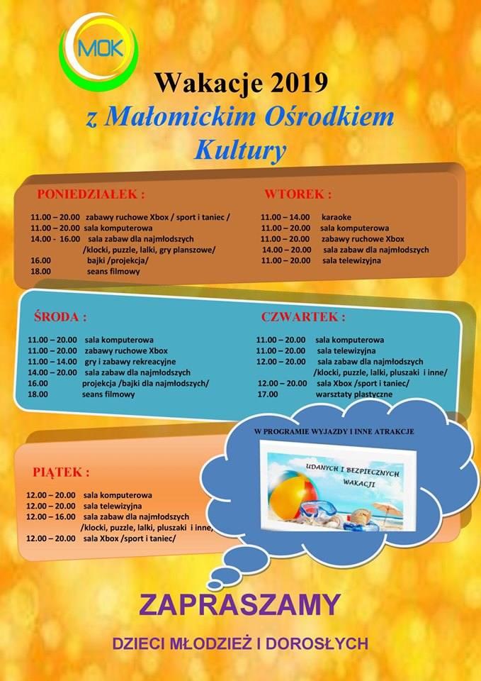 Program zajęć wakacyjnych w Małomicach.