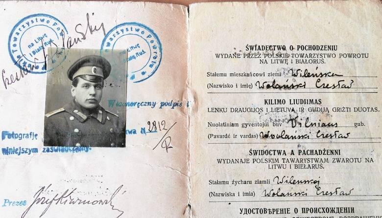 Dokument wystawiony przez Polskie Towarzystwo Powrotu  na Litwę i Białoruś. Do czego był  potrzebny studentowi Cesarskiej Akademii  Wojskowo-Lekarskiej w Piotrogrodzie?