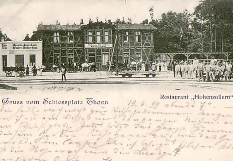 Pocztówka z Torunia ze zdjęciem restauracji poligonowej....