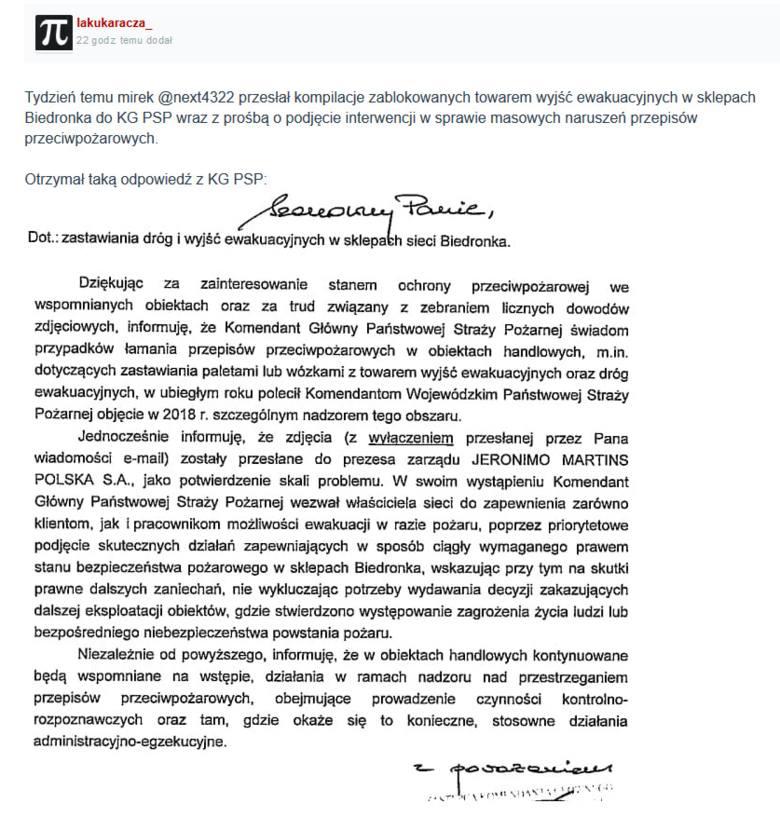 Jeden z użytkowników serwisu wykop.pl zgłosił sprawę zablokowanych towarem wyjść ewakuacyjnych w sklepach sieci Biedronka do KG PSP z prośbą o podjęcie