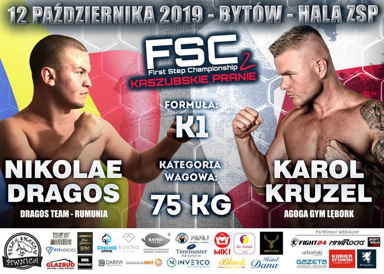Zapraszamy 12 października na FSC 2: Kaszubskie pranie. Gala MMA&K1 w Bytowie. First Step Championship, która odbędzie się w hali Zespołu Szkół