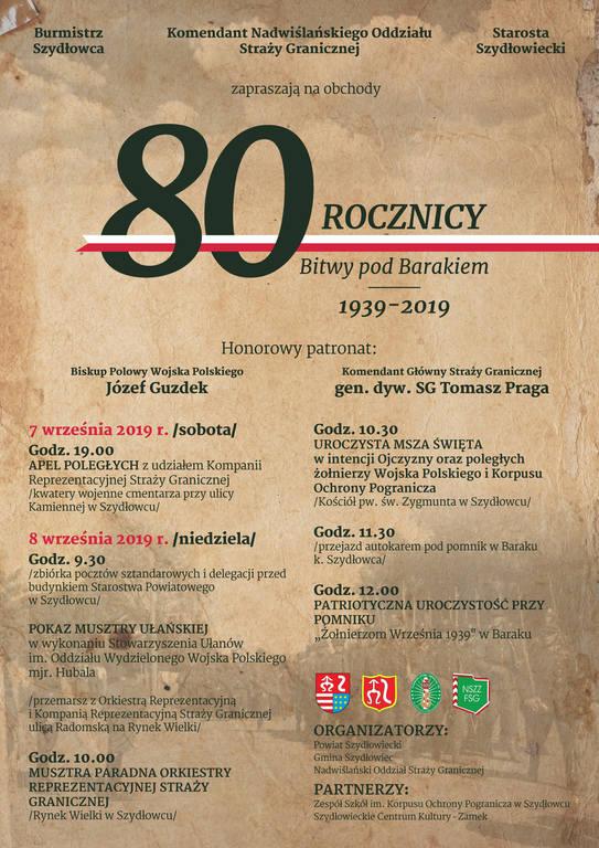 Gmina Szydłowiec. W weekend uroczystości z okazji 80. rocznicy bitwy pod Barakiem