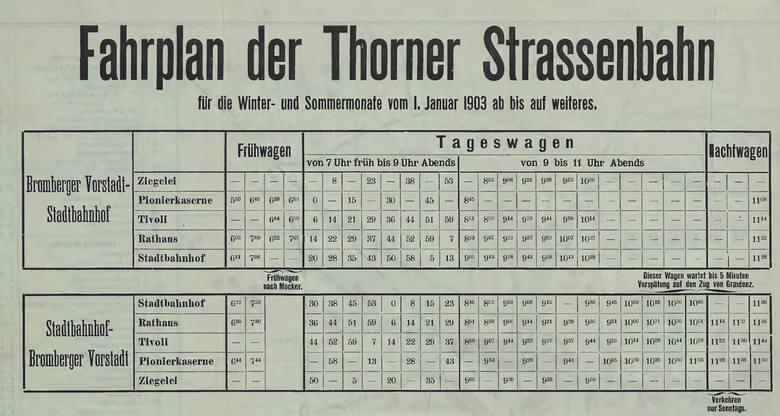 Aby się nie zgubić i nie spóźnić, weźmiemy ze sobą rozkład jazdy, który został dołączony do wydanego w 1903 roku przewodnika po Toruniu napisanego przez