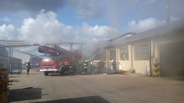 W niedzielę po godz. 12 w miejscowości Kołacz doszło do pożaru. -  Zostaliśmy wezwani do pożaru hali traków w miejscowym tartaku. Do działań zadysponowano: