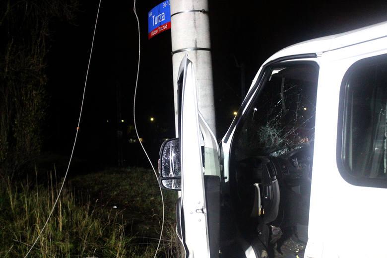 Wypadek na Wiejskiej w Łodzi. Pijani Ukraińcy rozbili się na latarni
