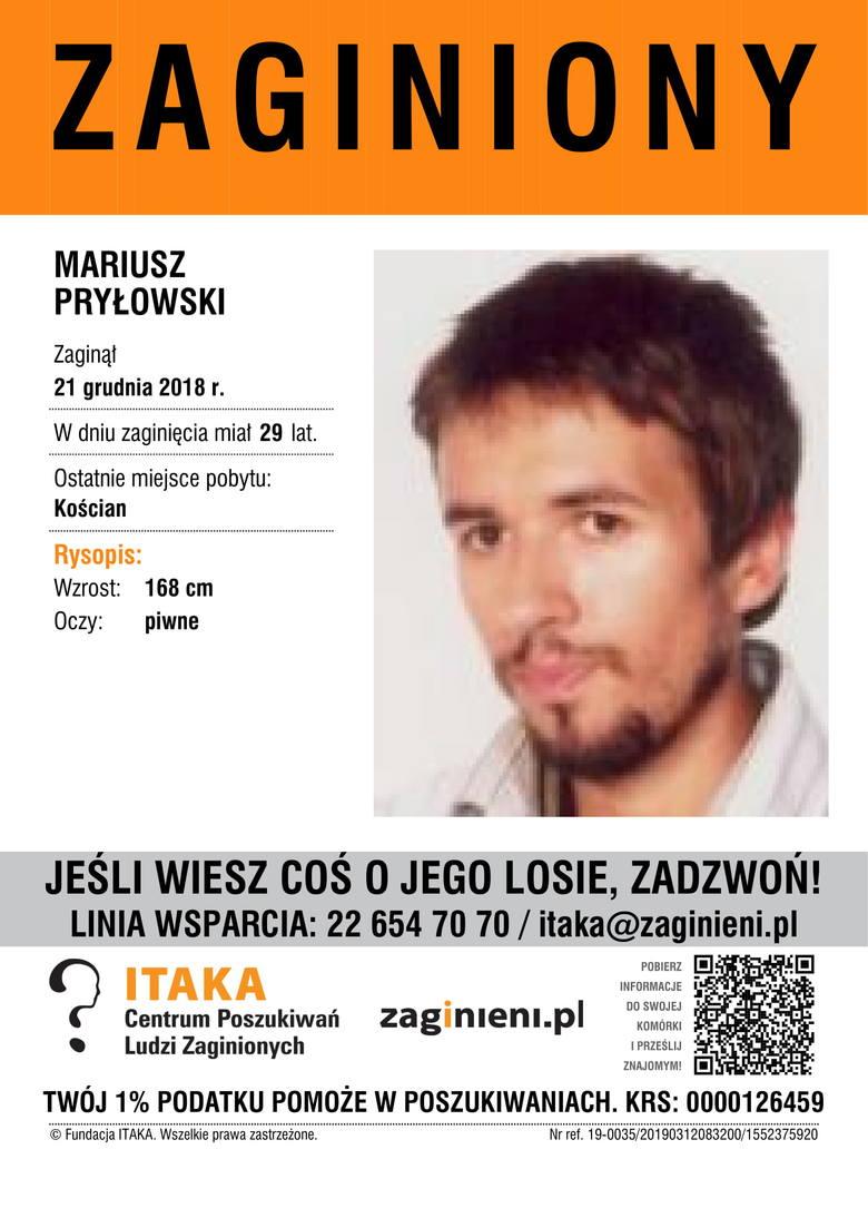 Mariusz PryłowskiAktualny wiek: lat 29Wzrost: 168 cmKolor oczu: piwneOstatnie miejsce pobytu: Kościan