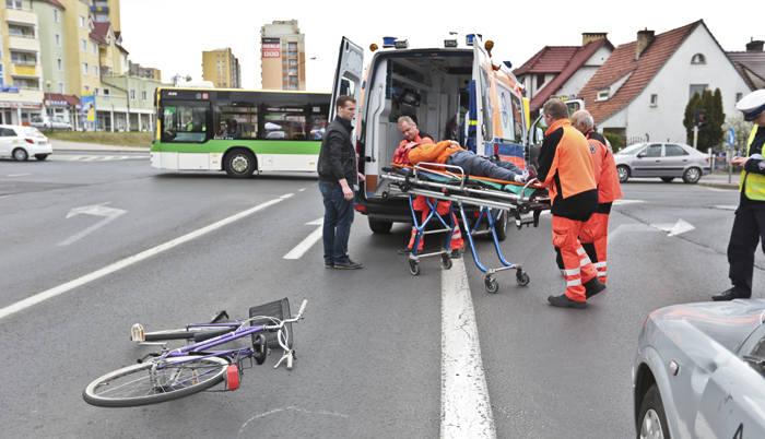 wypadki  z udziałem rowerzystów w Zielonej Górze