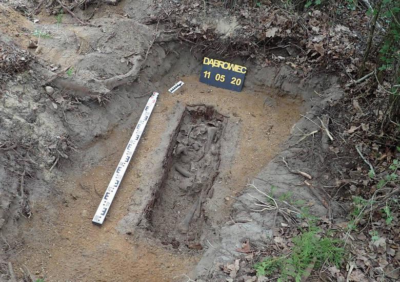 Szczątki niemieckiego żołnierza zostały przed laty pochowane przez dzieci w Dąbrowcu. Teraz je ekshumowano