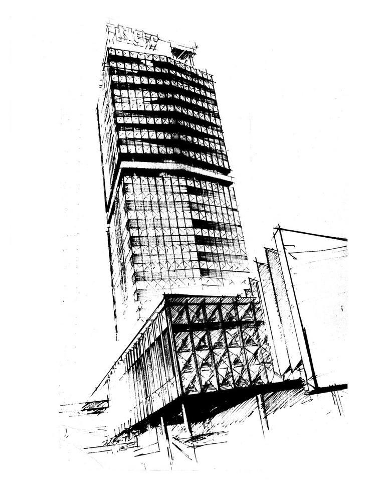 W latach 1970-1972 powstała koncepcja pokonkursowa wieżowca NOT (na wizualizacji).