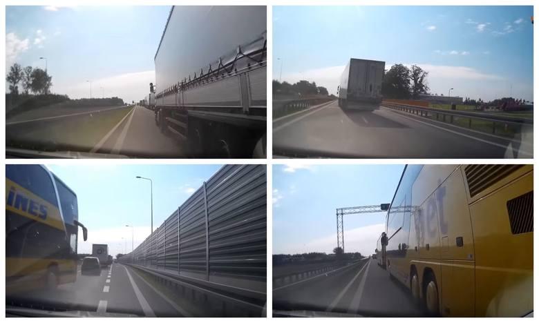 Kierowcy ciężarówek blokują lewy pas
