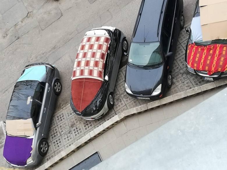 Niecodzienny widok można było zaobserwować w środę (12 czerwca) wieczorem na parkingach w Gorzowie. Samochody są oklejone grubą folią, kocami, kartonami