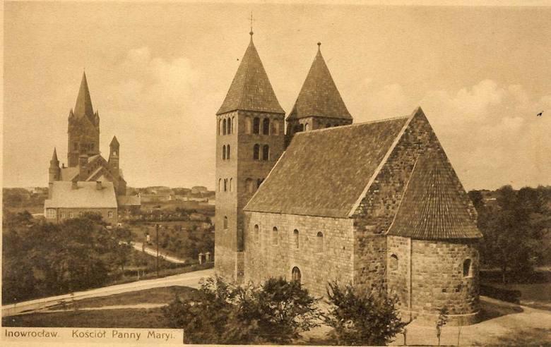 Najstarszy inowrocławski zabytek, romańska Bazylika Mniejsza Imienia Najświętszej Maryi Panny, wybudowana w czasach, gdy pojawiła się pierwsza pisana wzmianka o mieście.