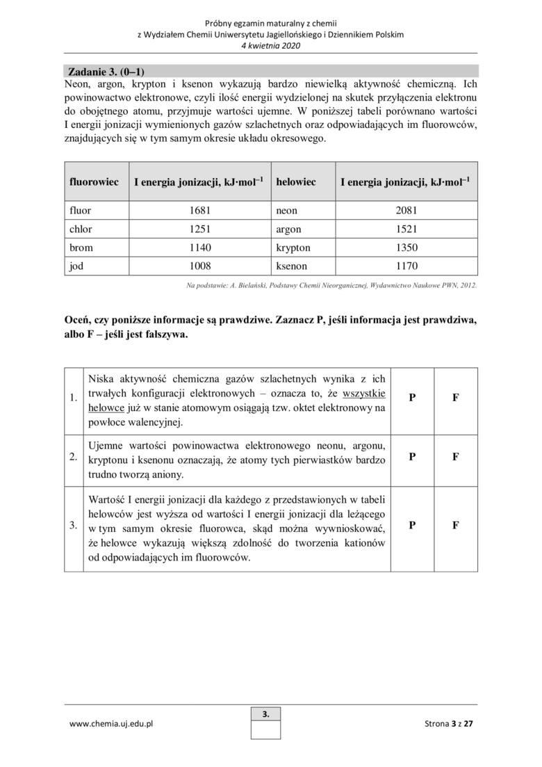 Próbna matura z chemii 2020 r. z Wydziałem Chemii Uniwersytetu Jagiellońskiego [ARKUSZE]