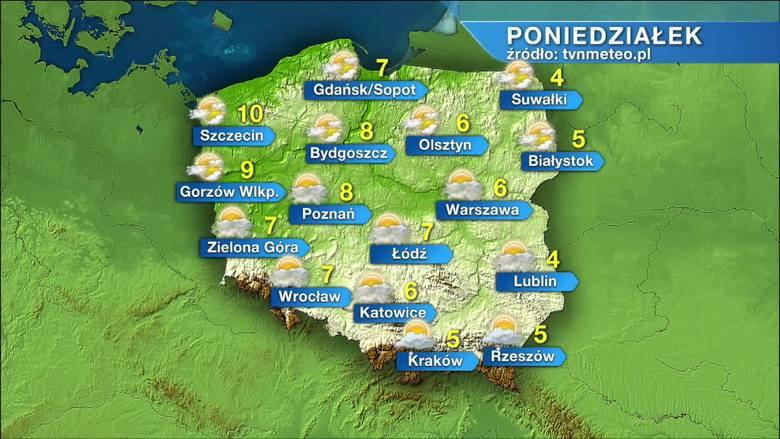 Pogoda na poniedziałek, 22 marca