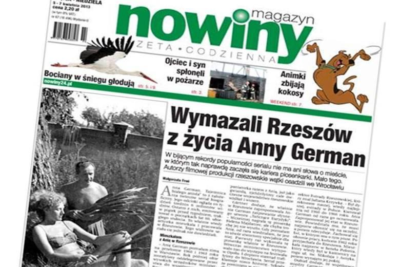 W serialu o Annie German nie ma ani słowa o tym, że pracowała w Estradzie Rzeszowskiej. Nowiny pisały o tym 5 kwietnia.