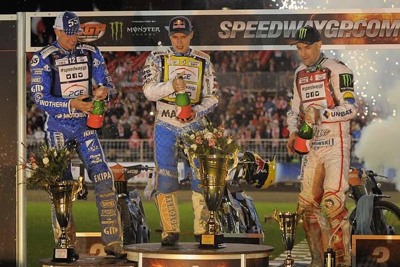 Emil Sajfutdinow, Tomasz Gollob i Matej Zagar na podium Grand Prix Europy [zdjęcia]