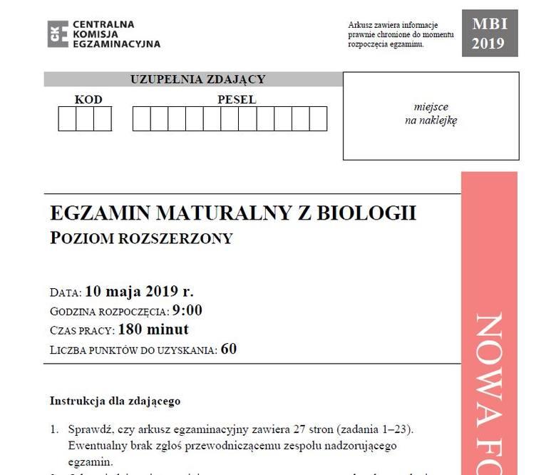Matura 2019 BIOLOGIA poziom rozszerzony ODPOWIEDZI I ARKUSZ CKE. Matura z biologii rozszerzenie 10.05.2019 -  pytania, odpowiedzi