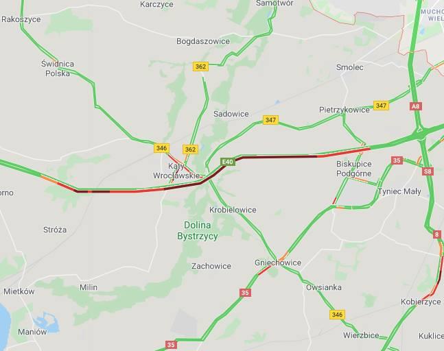 Wypadek na autostradzie A4. Potężne korki pod Wrocławiem