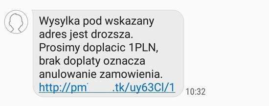 Tak może wyglądać przykładowa wiadomość SMS od oszustów