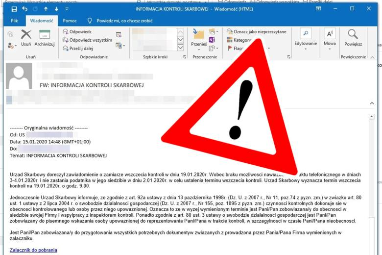Tak wygląda fałszywy e-mail - zawiadomienie o kontroli skarbowej.