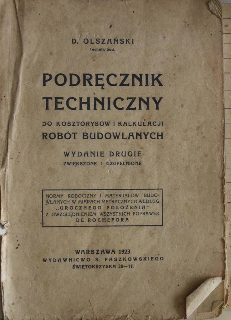"""""""Podręcznik techniczny do kosztorysów i kalkulacji robót budowlanych"""", z którego korzystał mistrz murarski Stefan Walczak."""