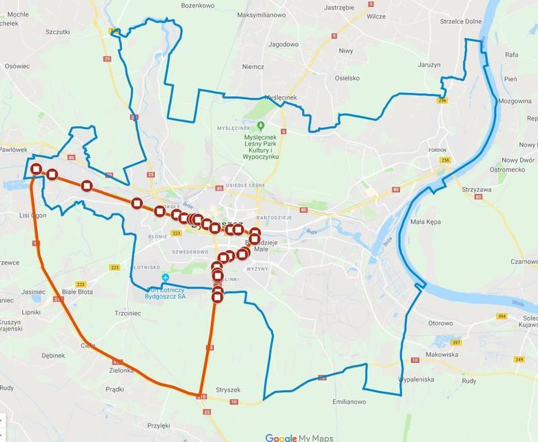 Obszar zagrożony wścieklizną zwierząt (zaznaczono na czerwono).  Niebieskim obszarem oznaczono granice miasta Bydgoszczy.