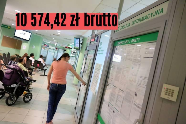 10 574,42 zł brutto to emerytura pochodząca z Oddziału ZUS w Toruniu.