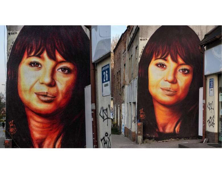 Anna Przybylska na muralu Tusego we Wrzeszczu. Na zdjęciu po lewej przed poprawkami, na zdjęciu po prawej po poprawkach