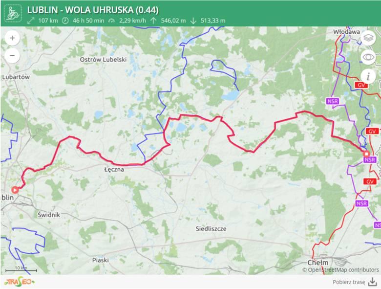 1. Lublin – Wola UhruskaTrasa szlaku nie jest zbyt trudna. W większości prowadzi przez teren równinny i przeważają nawierzchnie asfaltowe.Do przejechania