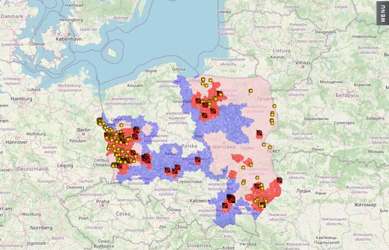 Mapa obszarów i ognisk ASF w Polsce (4.08.2021)