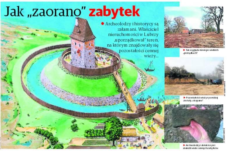 Pozostałości wieży rycerskije zostały okopane