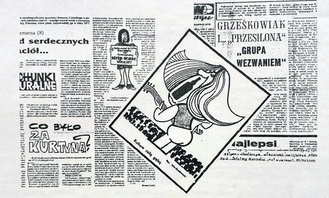 """Karykatury wyszydzające Czesława Niemena i kopia feralnego artykułu z """"Gazety Radomszczańskiej"""" z 1971 (z prawej)"""