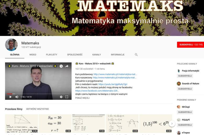 Michał Budzyński i jego kanał MATEMAKS www.youtube.com/user/matemaks/featuredAbsolwent Wydziału Matematyki, Informatyki i Mechaniki Uniwersytetu Warszawskiego.