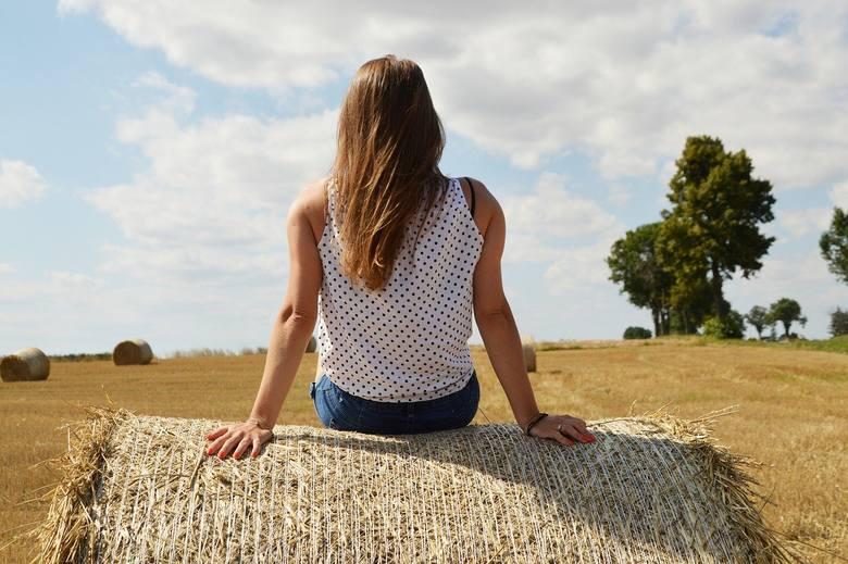 Rolnik spogląda, jak ktoś spaceruje po jego polu, ustawia się przy słomianej beli, czasem opiera się, wchodzi na nią, nawet się kładzie. Takich zdjęć