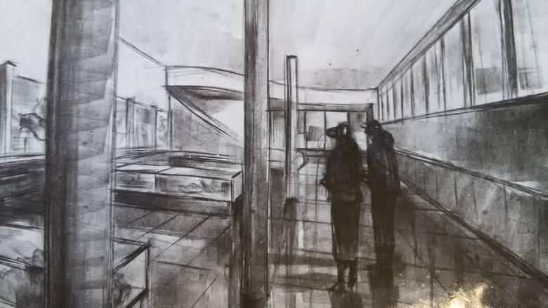 Sala wystawowa w muzeum, rysunek Schayera