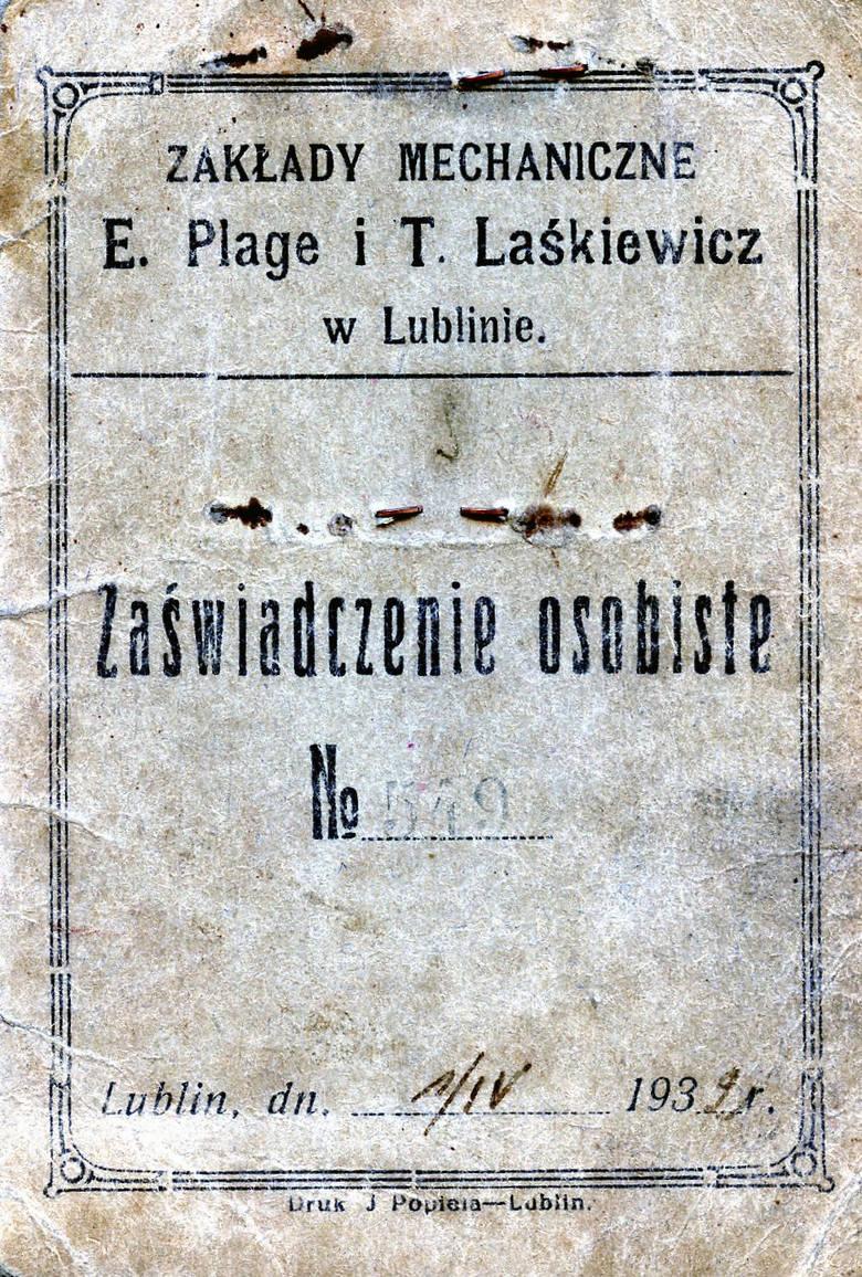 Dokument, którego właścicielką była Felicja Zenf. Dowiadujemy się, że zamieszkała na Probostwie Felicja Zenf była szwaczką w tapicerni Działu Lotniczego w Zakładach Mechanicznych E. Plage i T. Laśkiewicz. Pracę zaczęła 19 marca 1932 r., miała wtedy 27 lat.