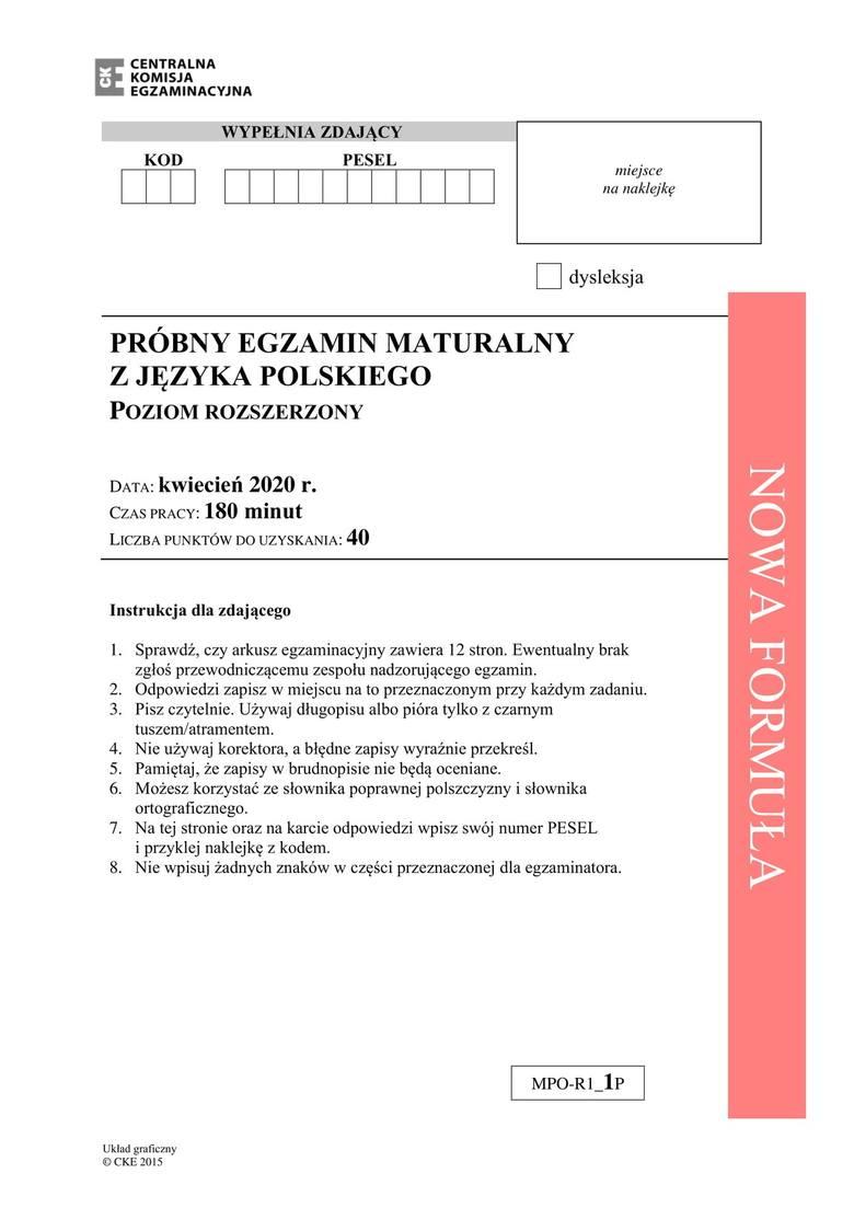 Matura próbna 2020 język polski - poziom rozszerzony. Arkusz CKE. Jakie tematy na maturze online z polskiego na poziomie rozszerzonym?