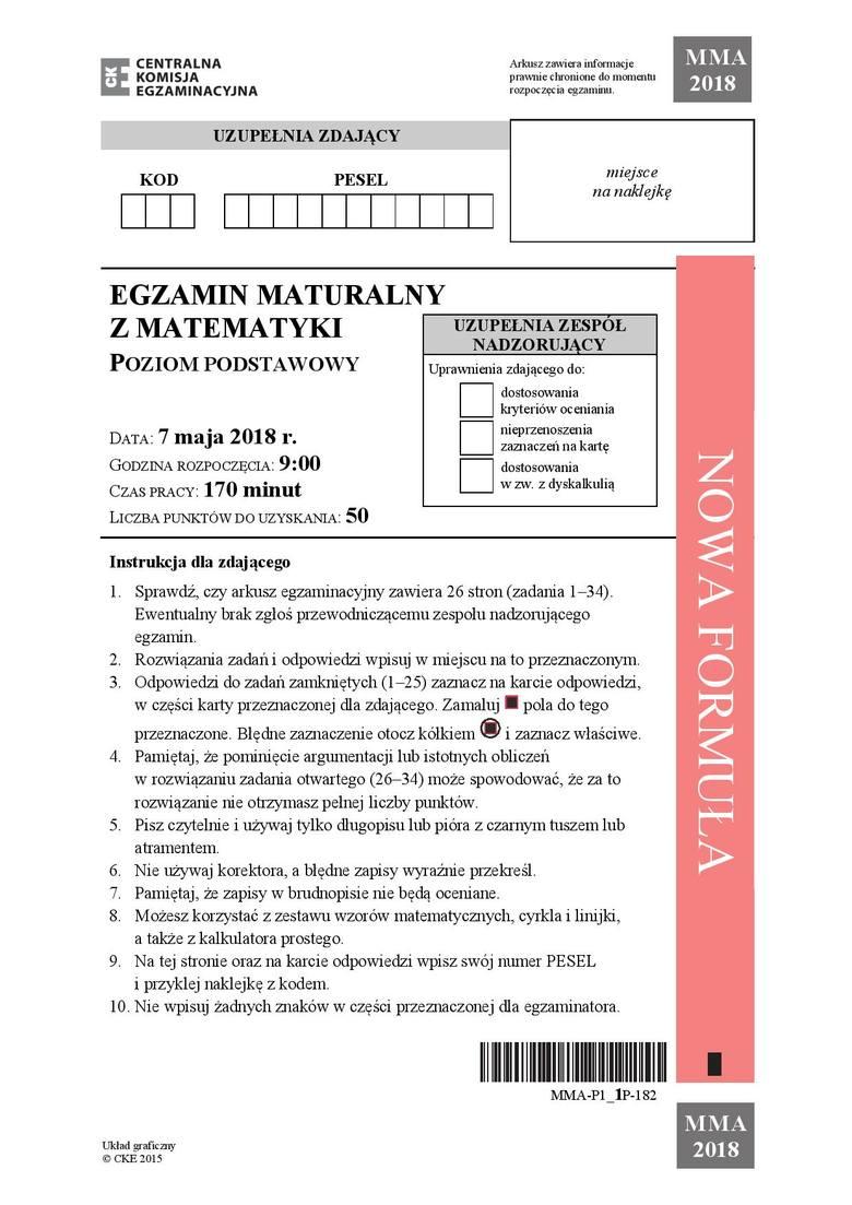 Prezentujemy arkusz CKE z matematyki na poziomie podstawowym. Wkrótce opublikujemy tutaj sugerowane odpowiedzi do matury z matematyki.Arkusz CKE i odpowiedzi