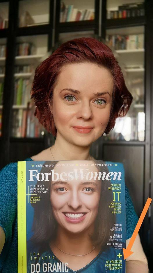 """Joanna Cieślak-Ospalska to wg. magazynu """"Forbes Woman"""" jedna z najciekawszych 30 podcasterek w Polsce wartych słuchania"""