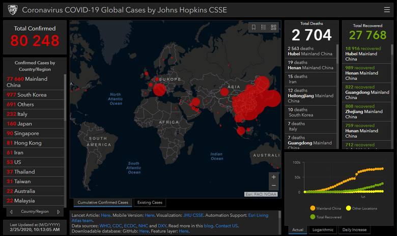 Mapa zasięgu epidemii chińskiego koronawirusa COVID-19 (wtorek 25.02.20)