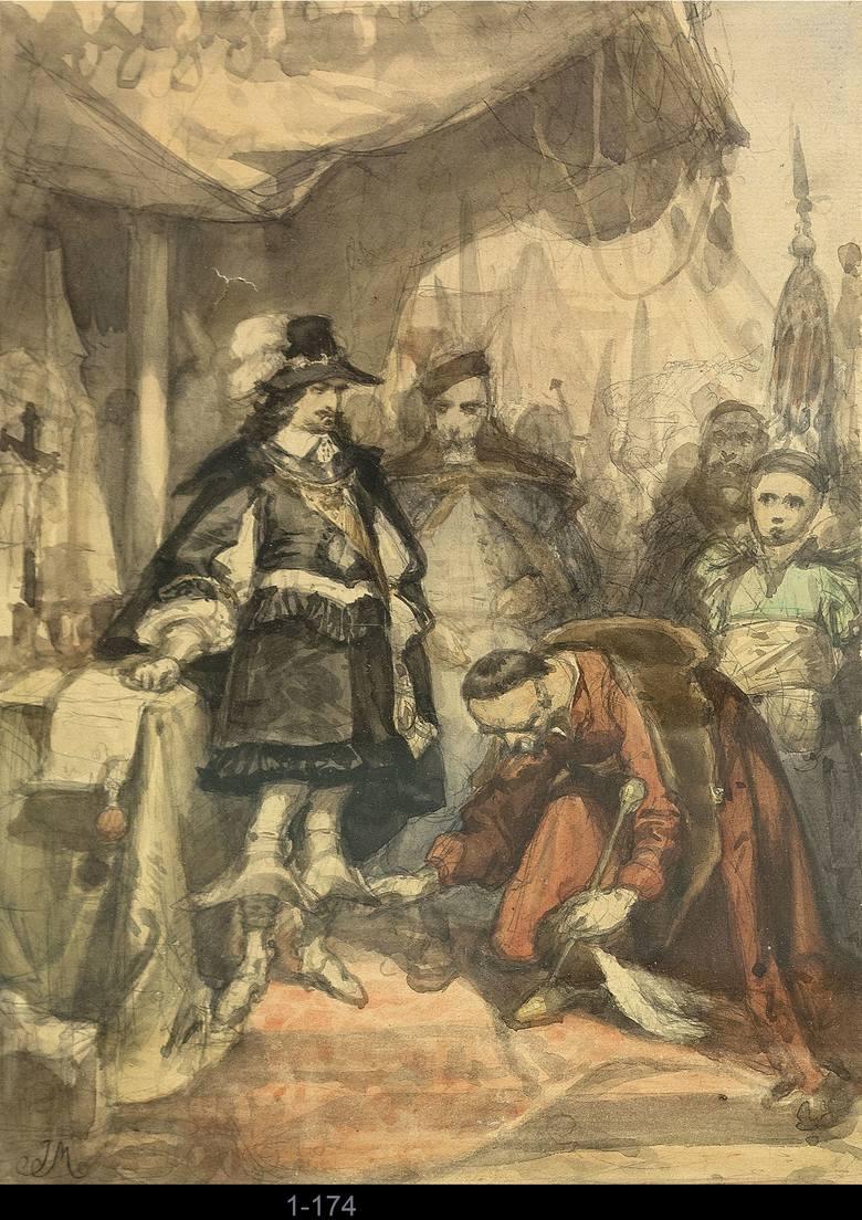 Hołd Bohdana Chmielnickiego pod Zborowem, 1859 akwarela